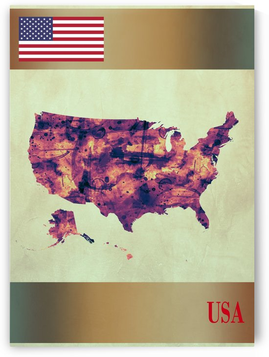 USA Map with Flag by Towseef Dar