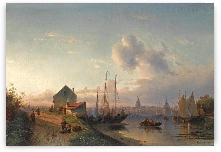 A view of a Dutch harbour at dawn by Charles Henri Joseph Leickert