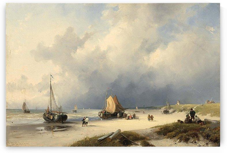 Bomschuiten and fisherfolk on the beach by Charles Henri Joseph Leickert