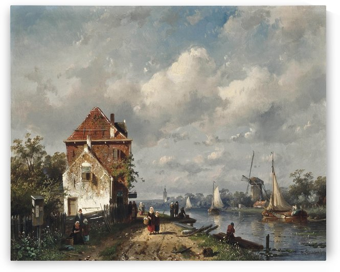 Figures strolling by a Dutch canal by Charles Henri Joseph Leickert