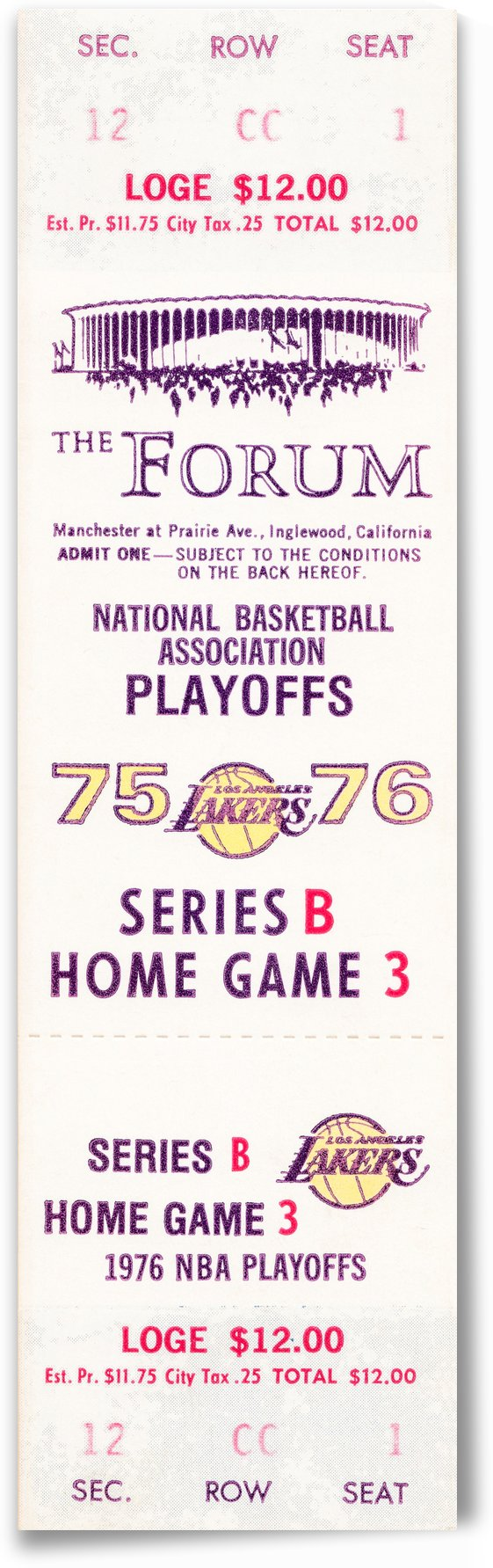 1975 los angeles lakers ticket stub wall art poster canvas print by Row One Brand