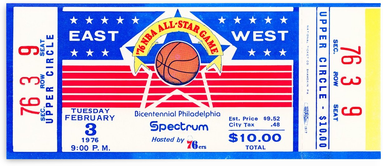 1976 nba all star basketball ticket stub art by Row One Brand