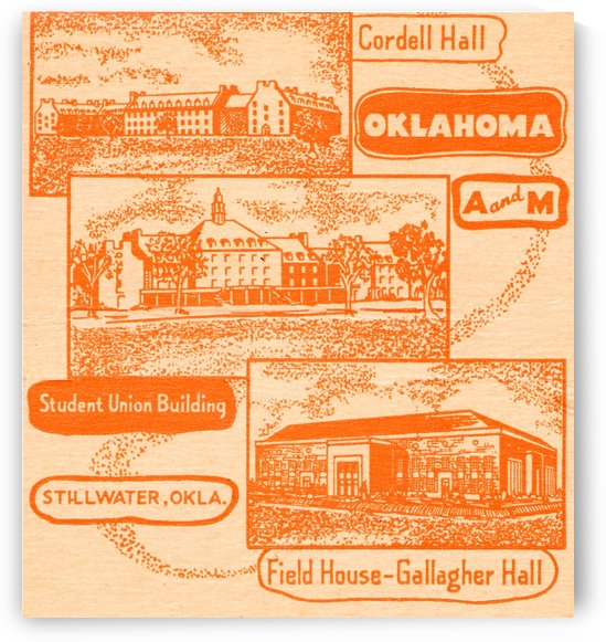 1950s oklahoma am college stillwater ok poster by Row One Brand