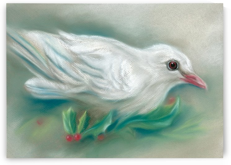 White Dove with Christmas Holly by MM Anderson