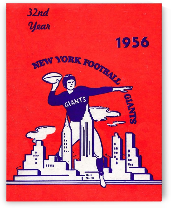 1956 new york giants vintage nfl poster by Row One Brand