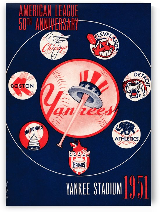 1951 new york yankees logo lon keller art by Row One Brand
