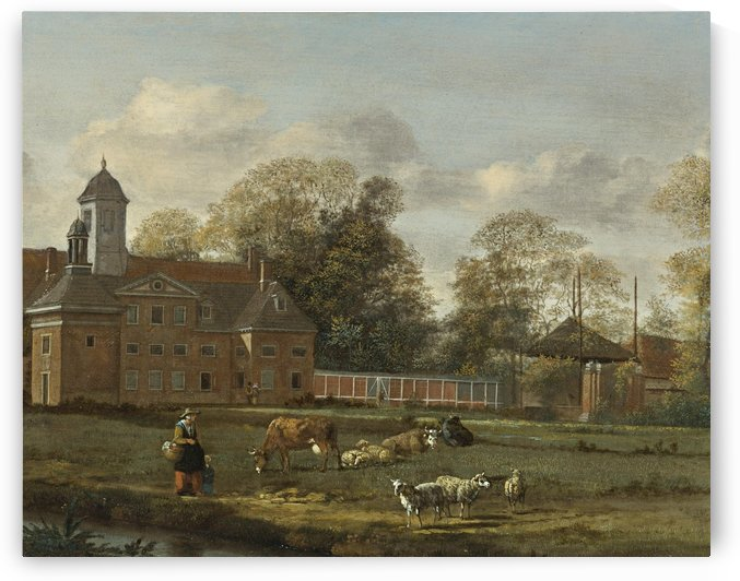 View of Goudestein with a woman and child walking beside river by Jan van der Heyden
