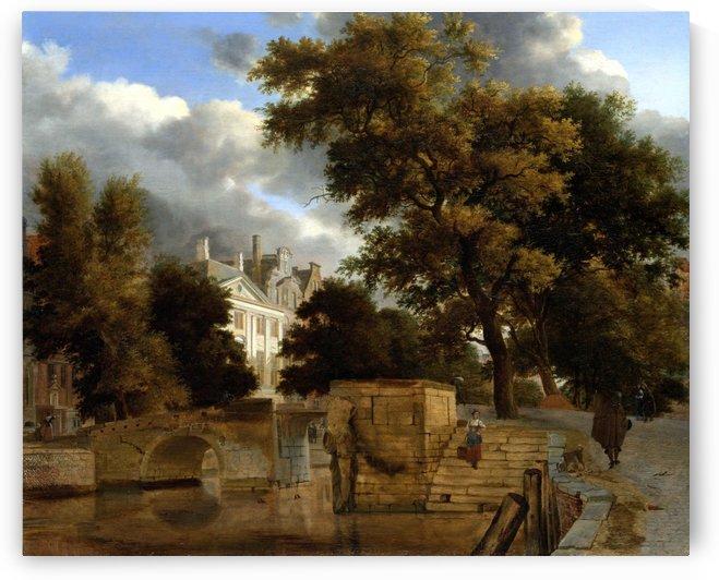 De stenen brug by Jan van der Heyden