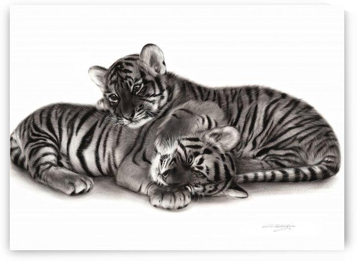 Tiger Cubs by Danguole Serstinskaja