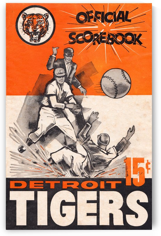 1962 detroit tigers wall art scorebook poster by Row One Brand