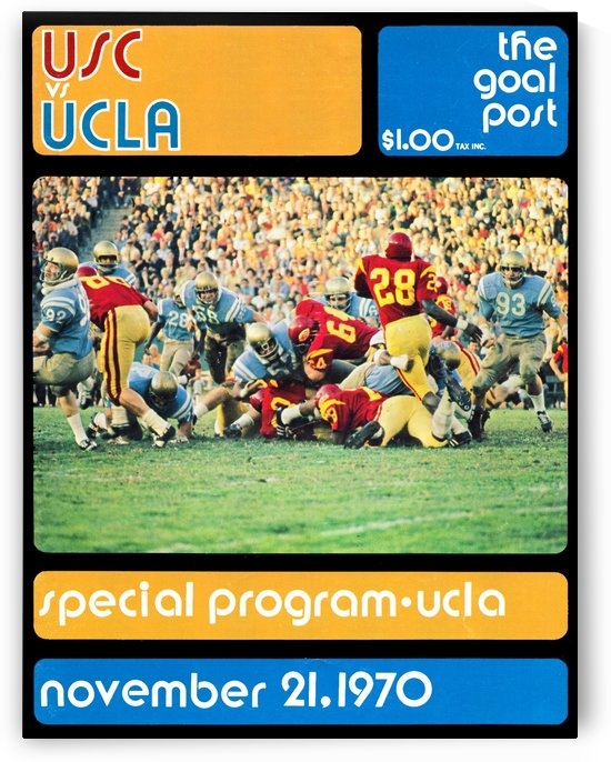 1970 usc ucla college football program canvas art by Row One Brand