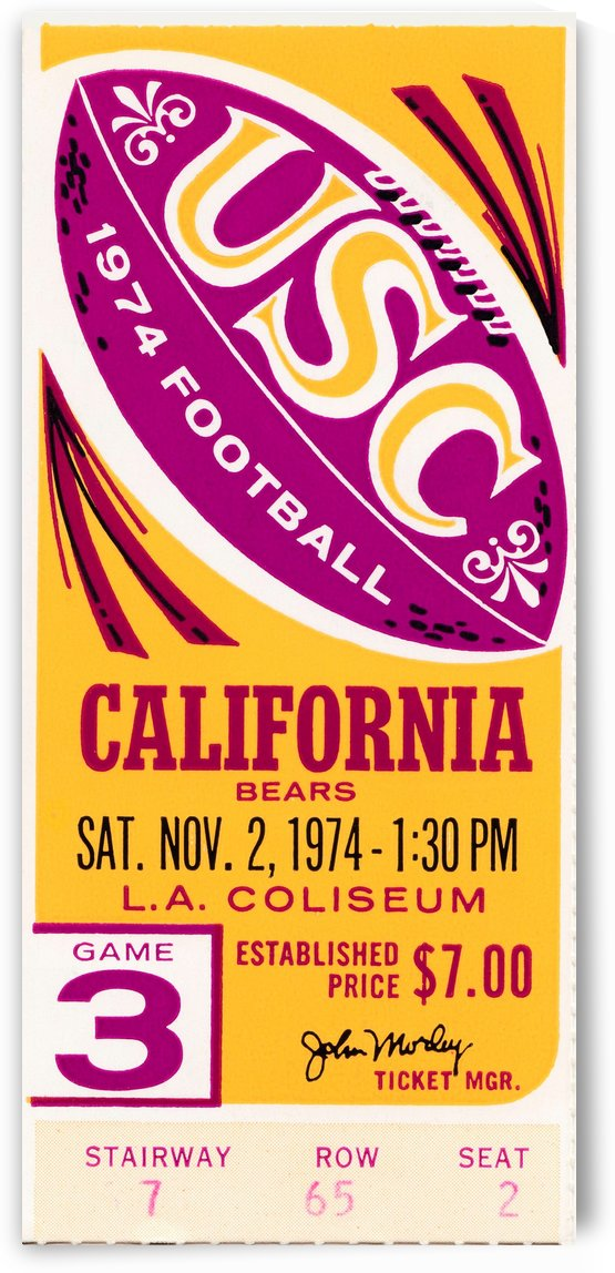 1974 usc california football ticket stub reproduction print by Row One Brand