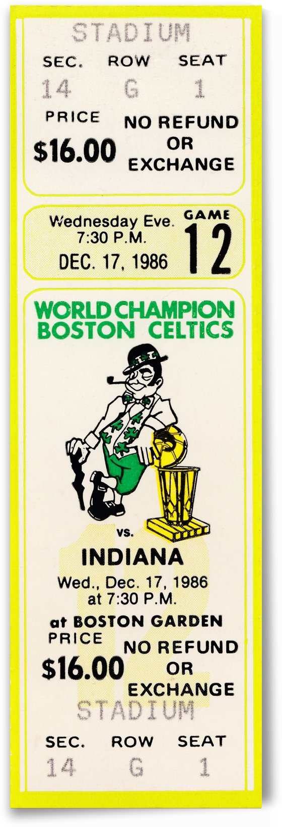 1986 boston celtics indiana pacers ticket stub art 1 by Row One Brand
