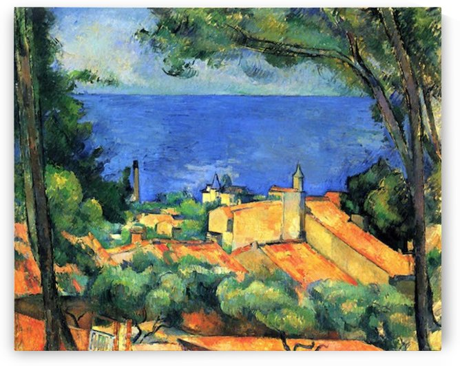 L Estaque with Red Roofs by Cezanne by Cezanne