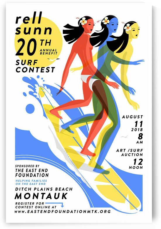 2018 RELL SUNN Montauk Print - Surfing Poster by Surf Posters