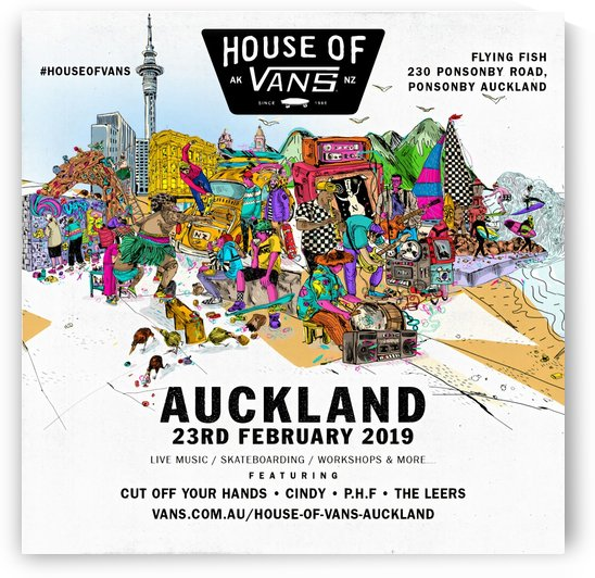 2019 HOUSE OF VANS Auckland Print - Skateboard Poster by Surf Posters