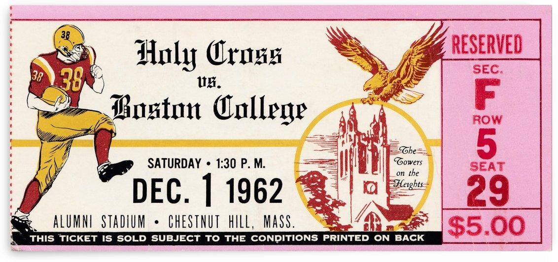 1962 holy cross boston college football ticket stub wall art by Row One Brand