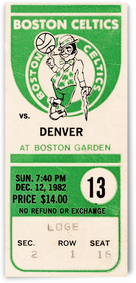 1982 boston celtics ticket stub art by Row One Brand
