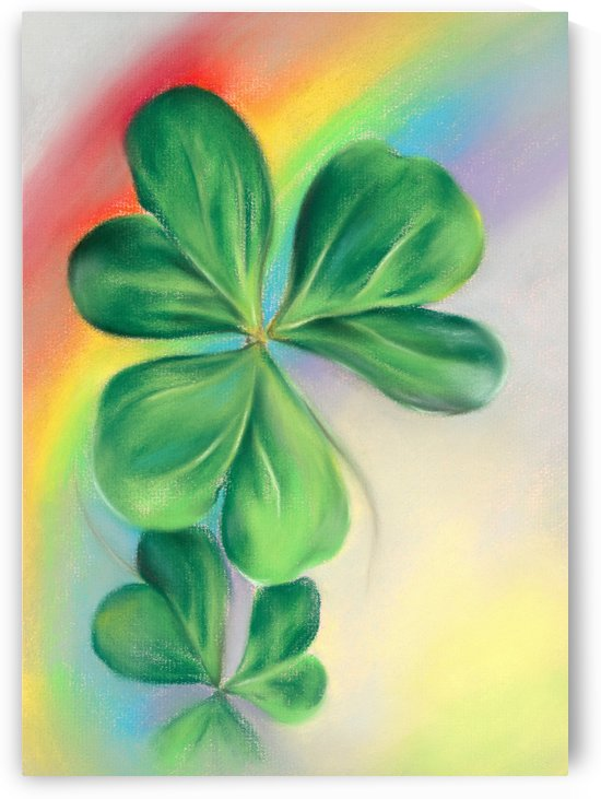 Green Shamrocks and Colorful Rainbow by MM Anderson