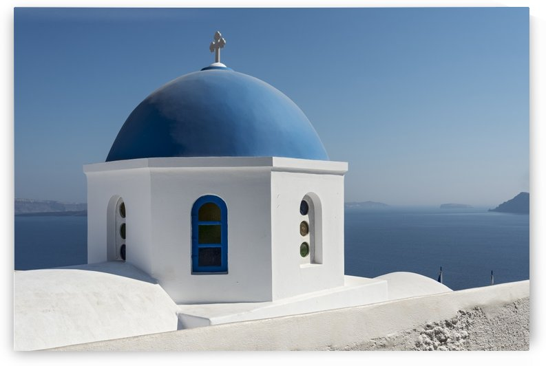 Blue Domed Church Oia Santorini by Petr Svarc