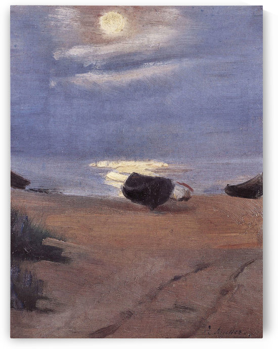 Boats in the moonlight on South Beach by Anna Ancher by Anna Ancher