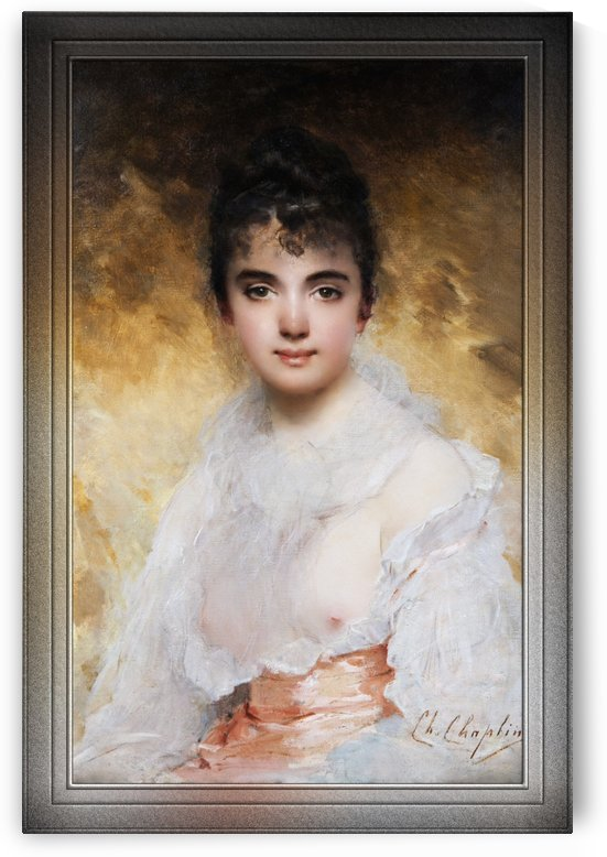 Portrait Of A Young Woman by Charles Joshua Chaplin Classical Fine Art Reproduction by xzendor7