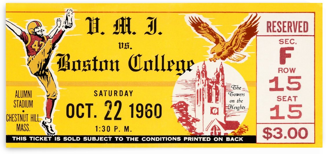 1960 boston college eagles ticket stub wall art canvas print by Row One Brand