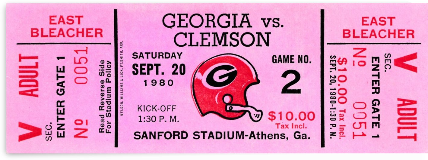 1980 georgia bulldogs national champions college football ticket stub wall art by Row One Brand