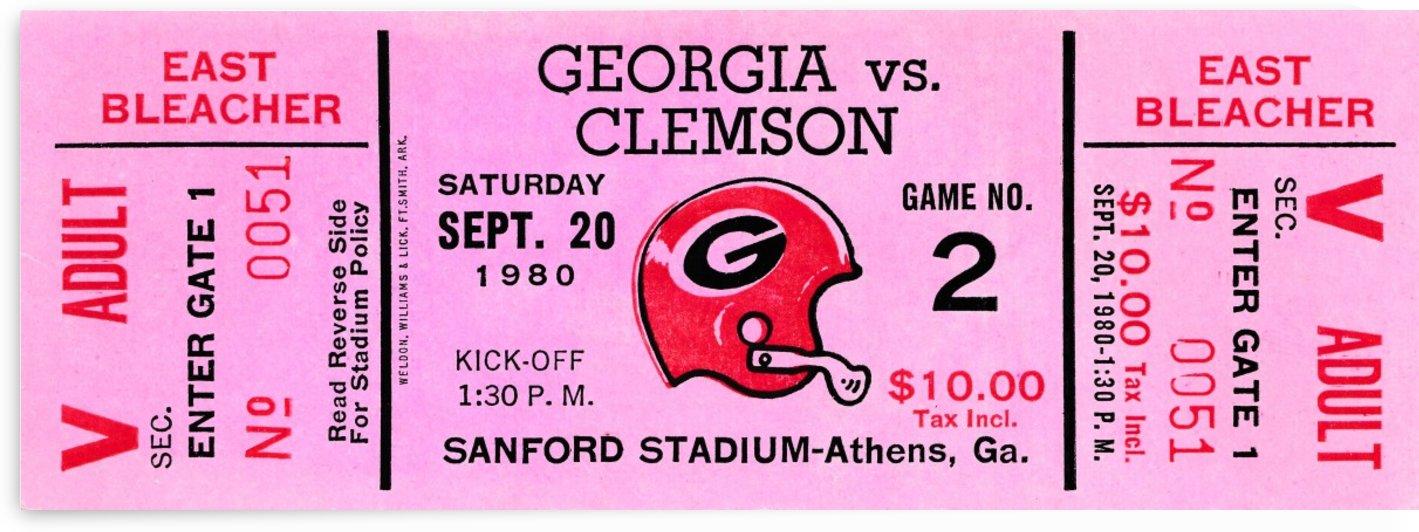 1980 Georgia Bulldogs Football Ticket Art by Row One Brand
