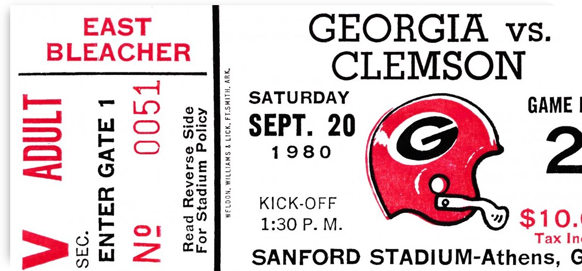 1980 Georgia Ticket Stub on Wood by Row One Brand