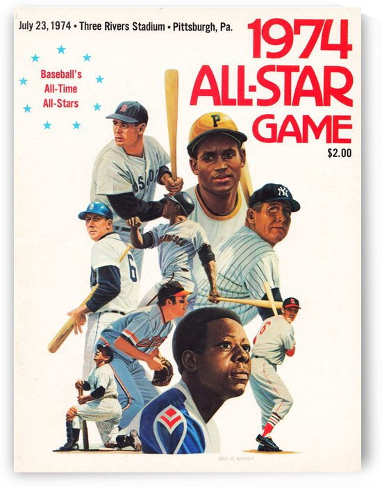 artist george katich 1974 mlb all star baseball cover art reproduction by Row One Brand