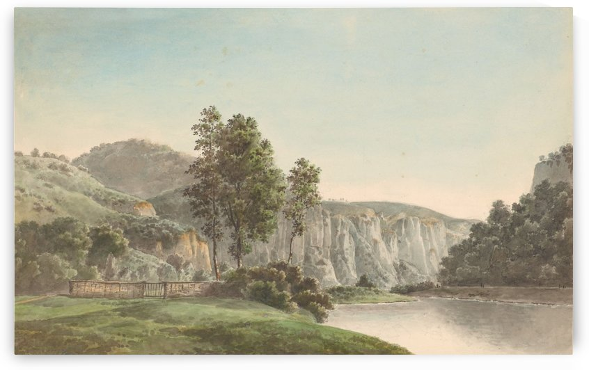 River Landscape with Distant Cliffs by Josephus Augustus Knip