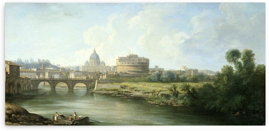 Gezicht op de Engelenburcht te Rome by Antonie Sminck Pitloo