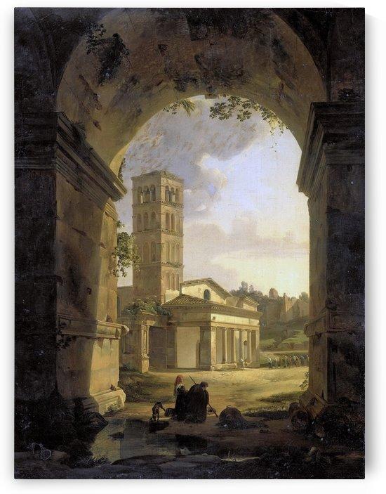 De kerk van San Giorgio in Velabro te Rome, 1820 by Antonie Sminck Pitloo
