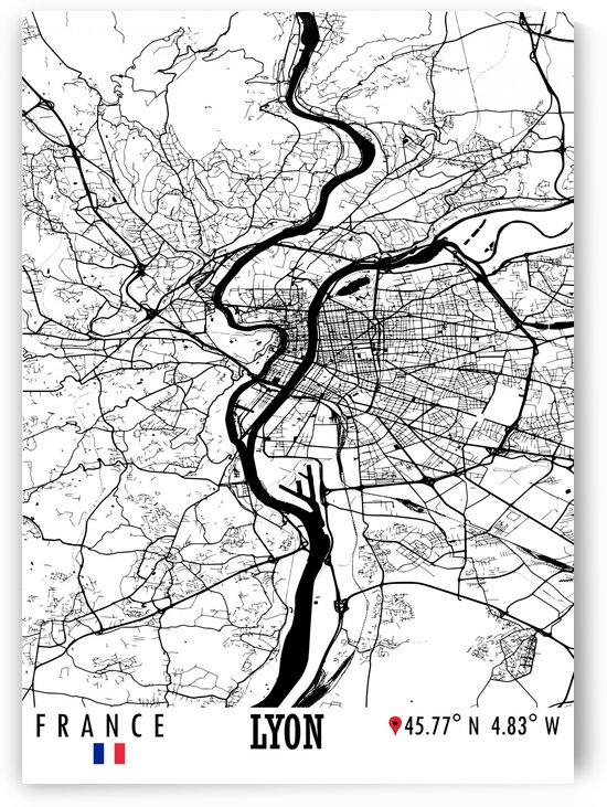 Lyon France Map by Artistic Paradigms