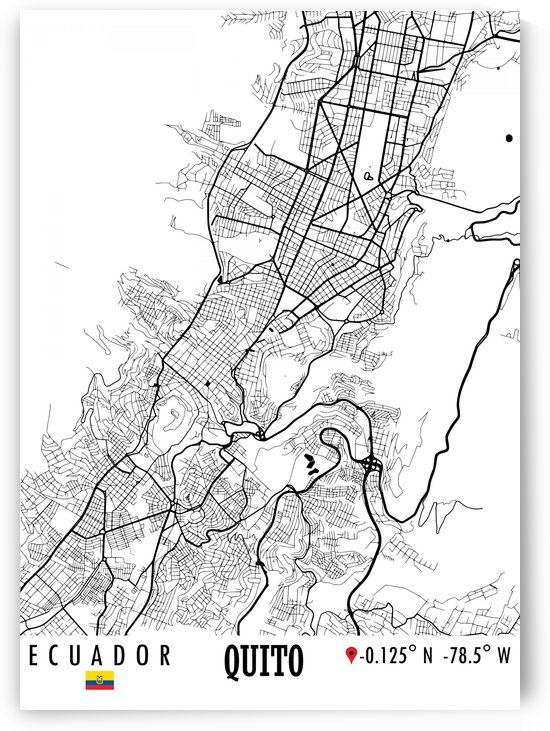 Quito Ecuador Map by Artistic Paradigms