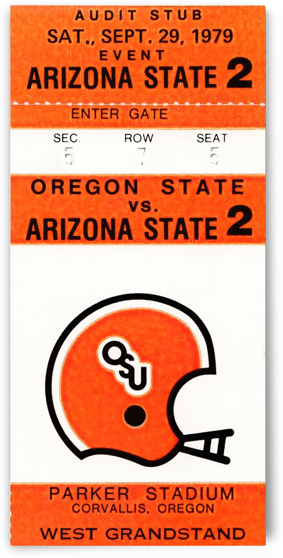 1979 oregon state university osu beavers retro ticket stub poster wall art by Row One Brand