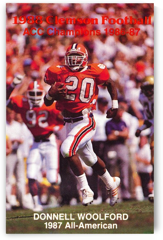 1988 clemson football poster donnell woolford by Row One Brand