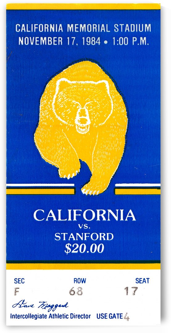 1984 california bears stanford football ticket by Row One Brand