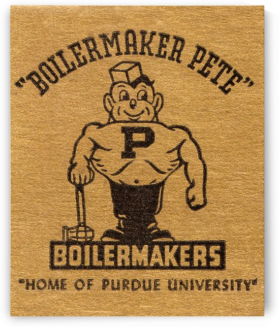 1950s Purdue University Boilermaker Pete Art by Row One Brand