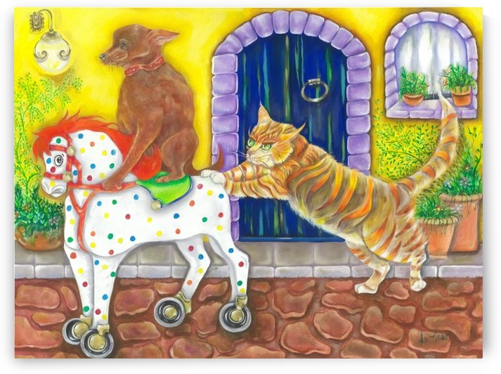 Cat and dog playing with a toy horse in the street of a Mexican town by deCaso Art