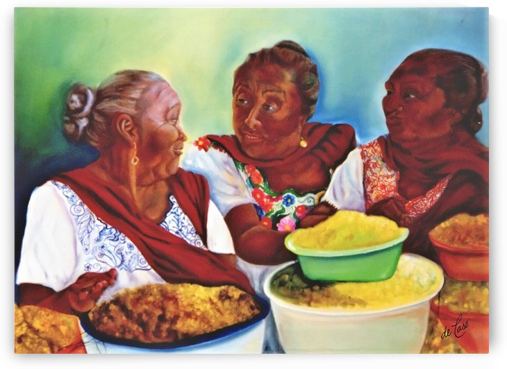 Women gossiping in the market of a small Mexican town by deCaso Art