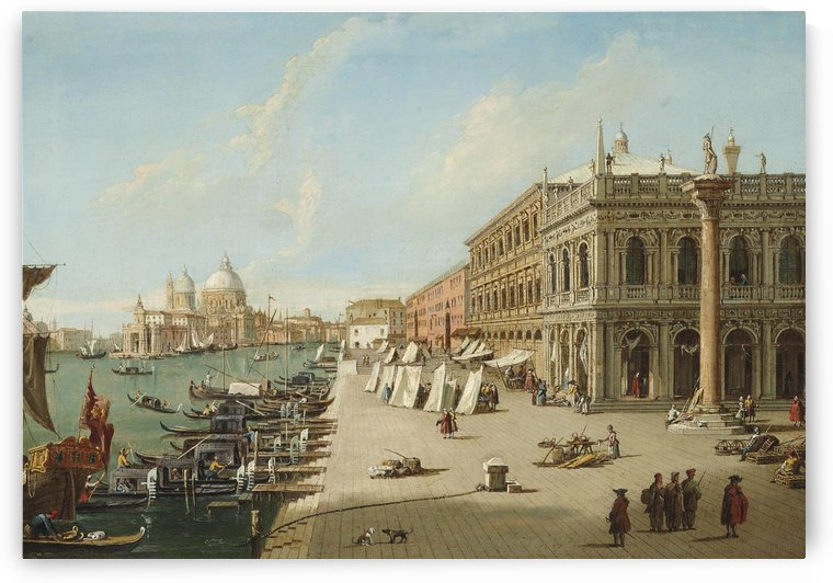 The Molo, Venice, looking West with the column of St. Theodore by Canaletto