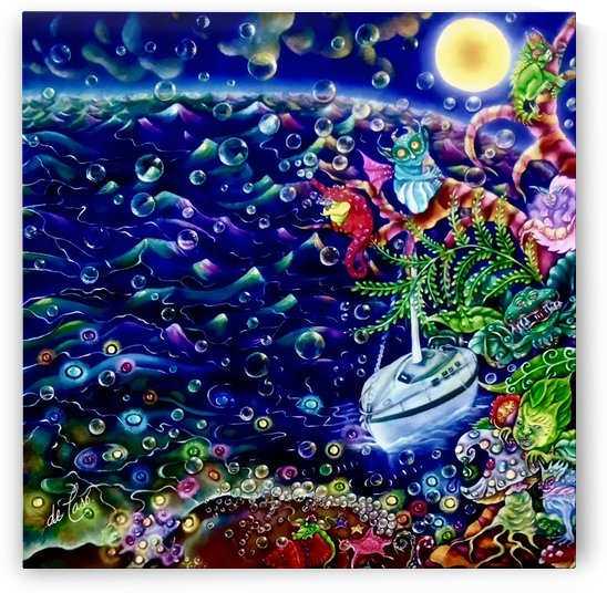 The night crossing of a sailboat called Alebrije near the beach during sunrise by deCaso Art