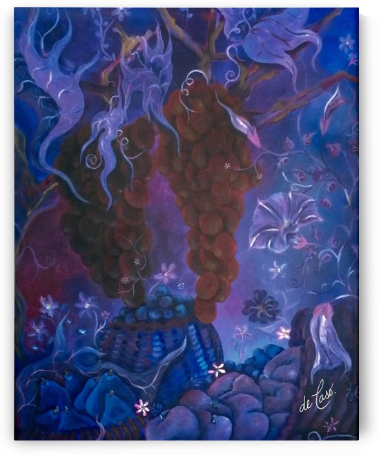 Grapes and purple pears in a vineyard with flowers by deCaso Art