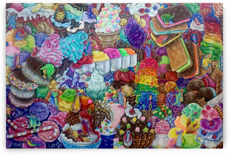 Ice cream sweet fruits and chocolates with penguins' elves playing  by deCaso Art
