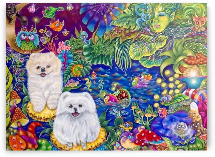 Pomeranian puppies having fun in the forest with fantasy animals by deCaso Art