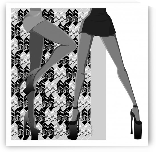 Black White Geometric Art and Stylish Girls by Wagner Hardt