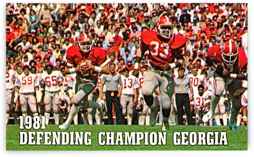 1981 defending national champion georgia bulldogs football poster by Row One Brand