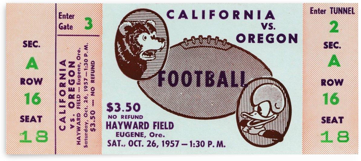 1957 california oregon ducks college football ticket stub reproduction print by Row One Brand